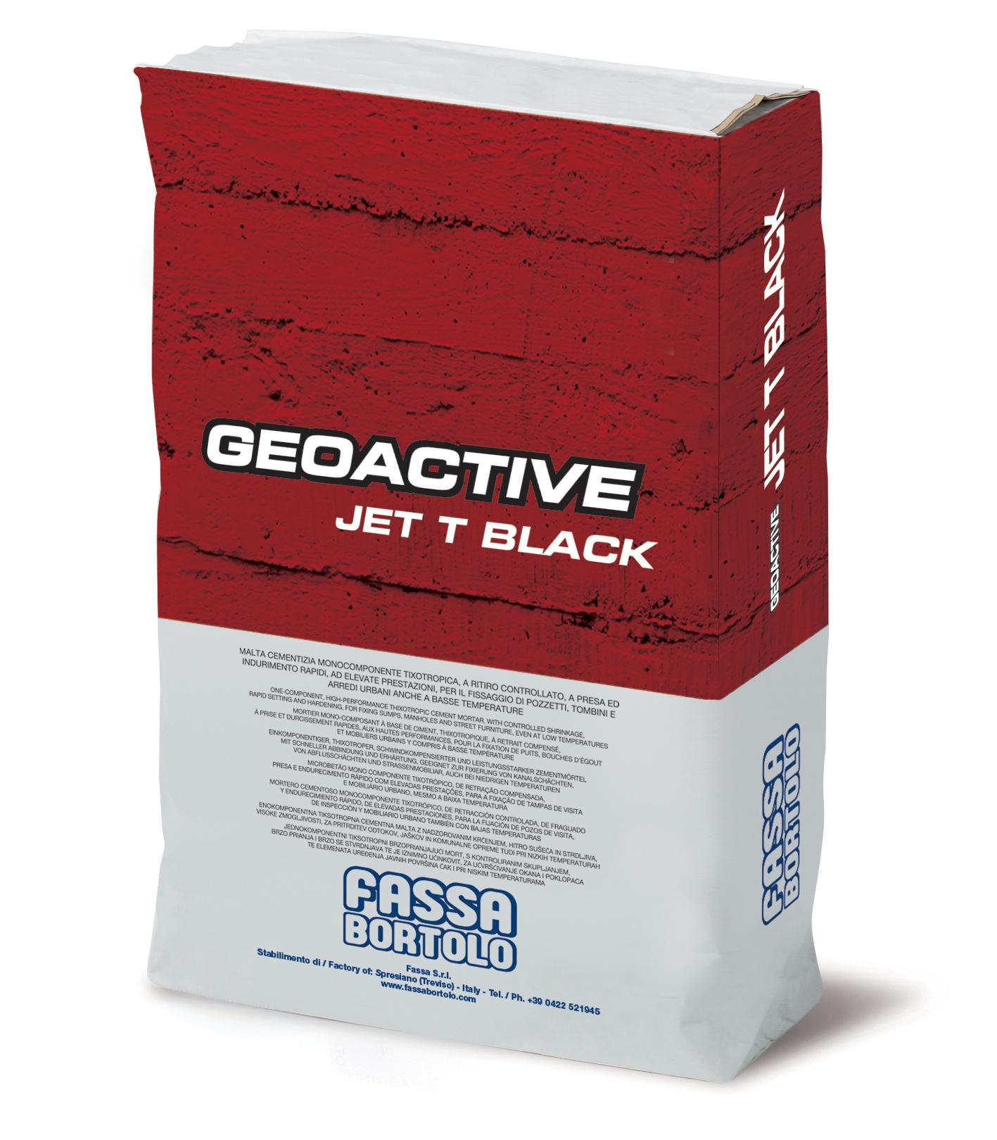 GEOACTIVE JET T BLACK: Mortero cementoso monocomponente rápido, de color negro, tixotrópico, reforzado con fibra, de altas prestaciones, para la colocación de tapas de alcantarillas y la fijación de mobiliario urbano incluso a bajas temperaturas