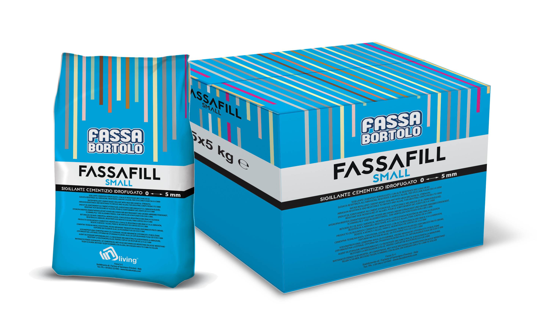FASSAFILL SMALL: Junta de base cementosa hidrófuga, con alta resistencia mecánica y a la abrasión, resistente a mohos y algas, para rellenar juntas de 0 a 5 mm