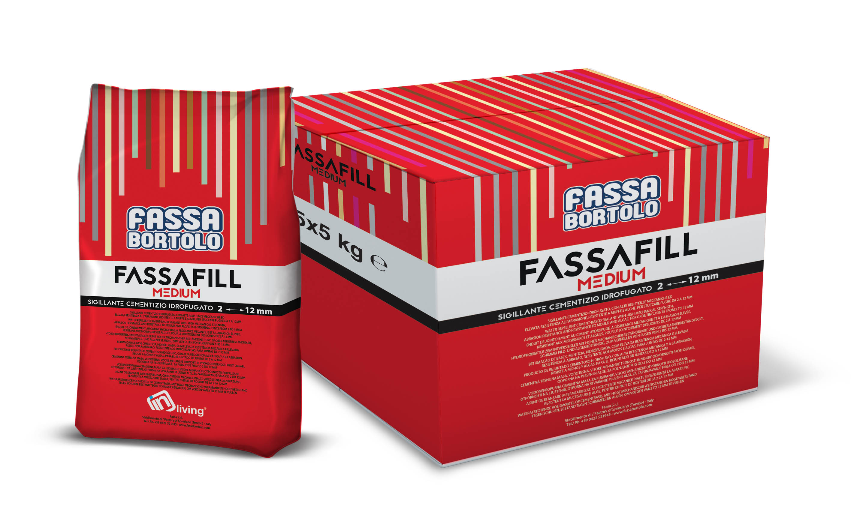 FASSAFILL MEDIUM: Junta de base cementosa hidrófuga, con alta resistencia mecánica y a la abrasión, resistente a mohos y algas, para rellenar juntas de 2 a 12 mm