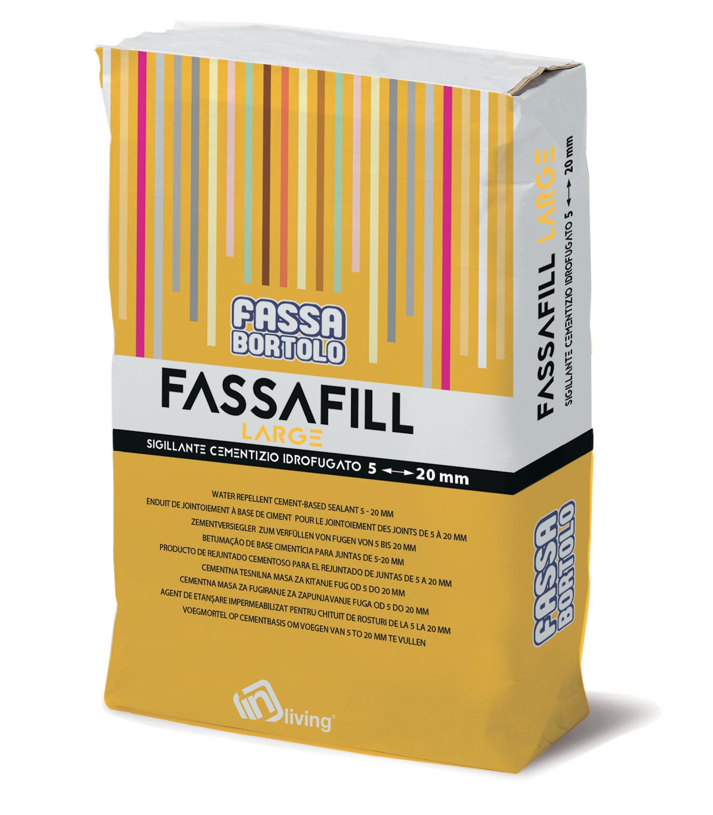 FASSAFILL LARGE: Junta de base cementosa hidrófuga, con alta resistencia mecánica y a la abrasión, resistente a mohos y algas, para rellenar juntas de 5 a 20 mm