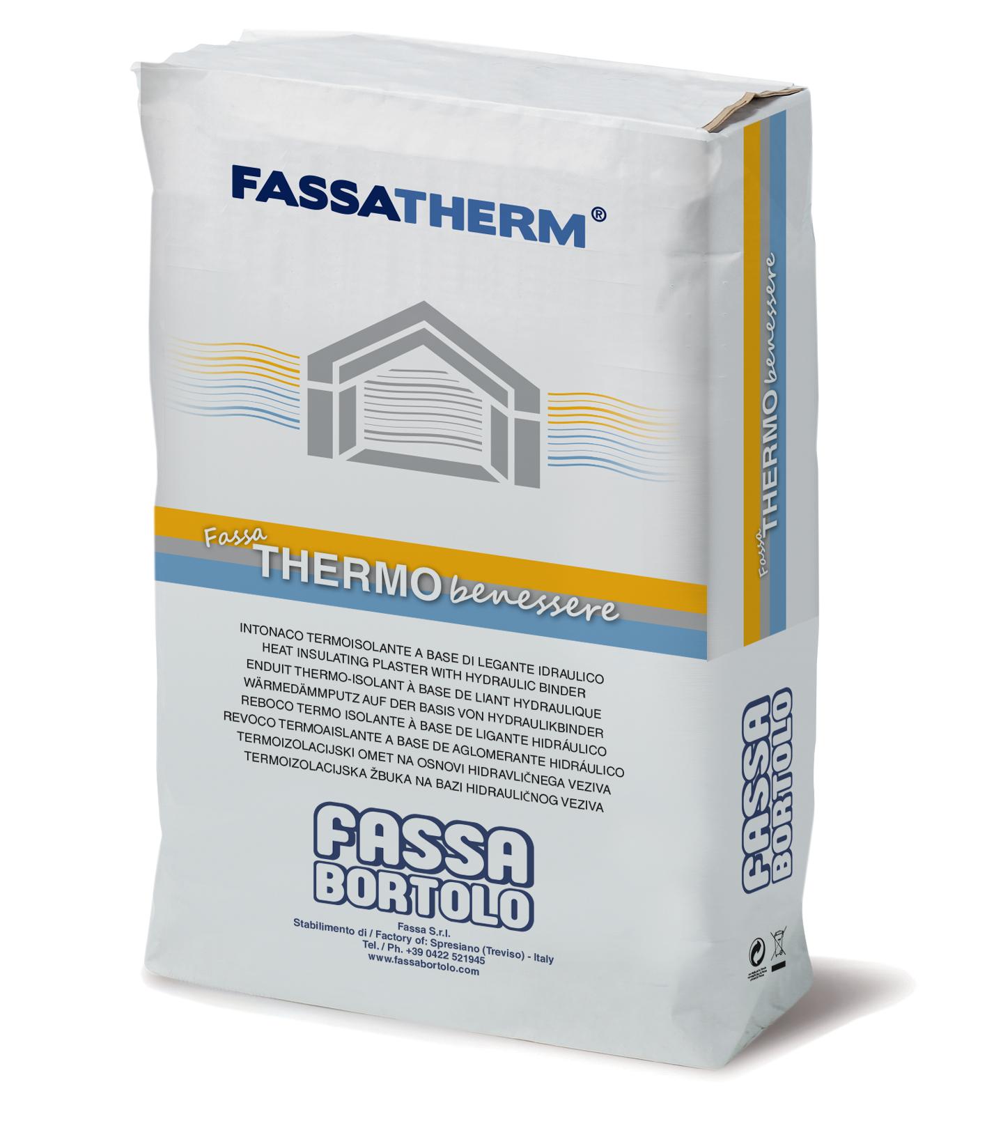 FASSA THERMOBENESSERE: Enfoscado termoaislante de baja conductividad térmica para aplicar con máquina o a mano, para exteriores e interiores