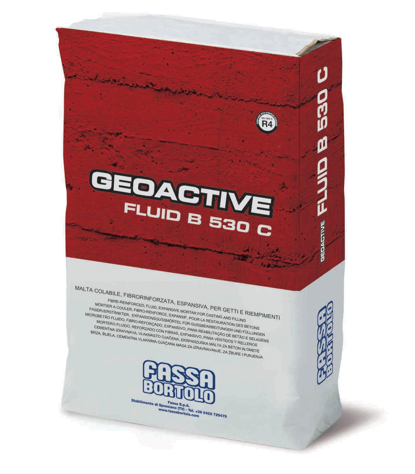 GEOACTIVE FLUID B 530 C: Mortero cementoso con reología controlable de fluida a superfluida, expansivo, con elevadas prestaciones mecánicas, para la reparación y el refuerzo de estructuras de hormigón armado y para anclajes de precisión de máquinas y estructuras metálicas