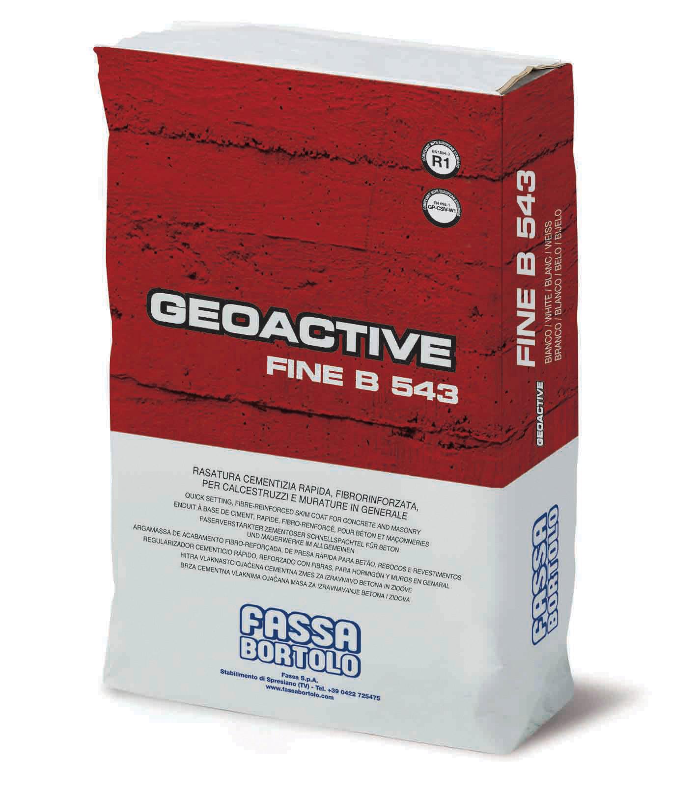 GEOACTIVE FINE B 543: Producto para enrasar cementoso rápido, reforzado con fibras, hidrófugo, blanco y gris para hormigón, revestimientos plásticos y enfoscados
