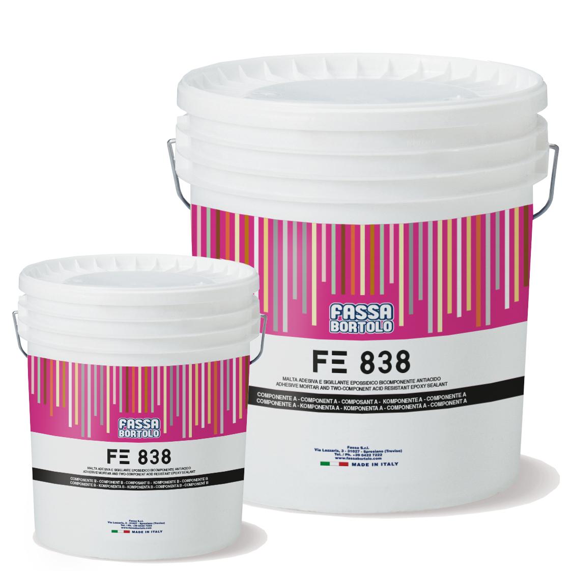 FE 838: Mortero adhesivo y sellador epoxídico bicomponente, antiácido, para juntas de al menos 3 mm, para interiores y exteriores